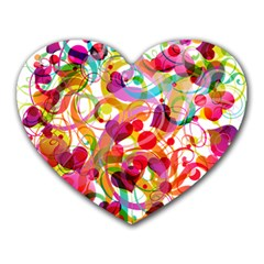 Abstract Colorful Heart Heart Mousepads
