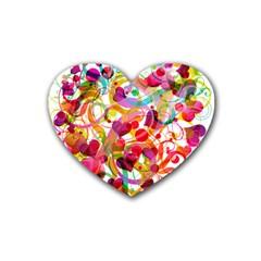 Abstract Colorful Heart Rubber Coaster (heart)  by BangZart