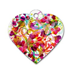 Abstract Colorful Heart Dog Tag Heart (two Sides)