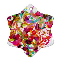 Abstract Colorful Heart Snowflake Ornament (two Sides)