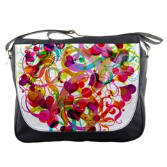 Abstract Colorful Heart Messenger Bags