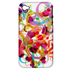 Abstract Colorful Heart Apple Iphone 4/4s Hardshell Case (pc+silicone) by BangZart