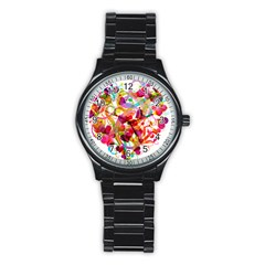 Abstract Colorful Heart Stainless Steel Round Watch