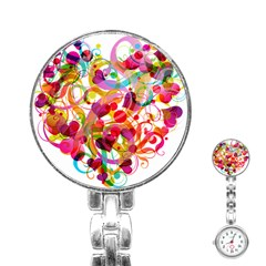 Abstract Colorful Heart Stainless Steel Nurses Watch by BangZart