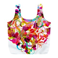 Abstract Colorful Heart Full Print Recycle Bags (l)