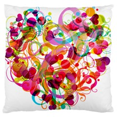 Abstract Colorful Heart Large Flano Cushion Case (one Side) by BangZart