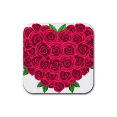 Floral Heart Rubber Square Coaster (4 Pack)
