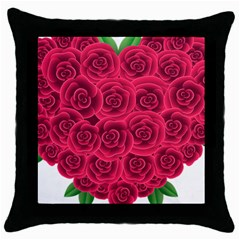 Floral Heart Throw Pillow Case (black)