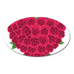 Floral Heart Oval Magnet by BangZart