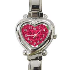 Floral Heart Heart Italian Charm Watch by BangZart