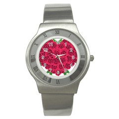 Floral Heart Stainless Steel Watch by BangZart