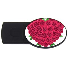 Floral Heart Usb Flash Drive Oval (4 Gb) by BangZart