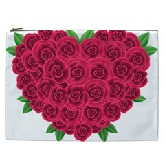 Floral Heart Cosmetic Bag (xxl)  by BangZart