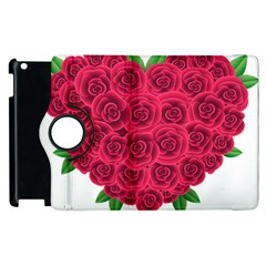 Floral Heart Apple Ipad 2 Flip 360 Case