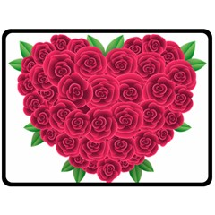 Floral Heart Double Sided Fleece Blanket (large)  by BangZart