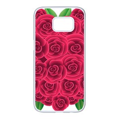 Floral Heart Samsung Galaxy S7 Edge White Seamless Case by BangZart
