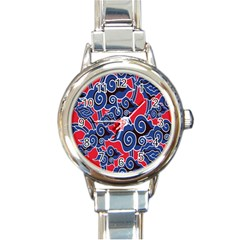 Batik Background Vector Round Italian Charm Watch by BangZart