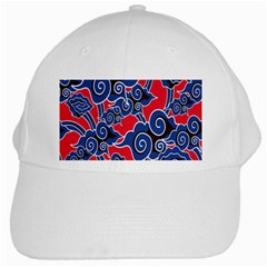Batik Background Vector White Cap