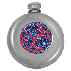 Batik Background Vector Round Hip Flask (5 Oz) by BangZart