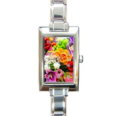 Colorful Flowers Rectangle Italian Charm Watch by BangZart
