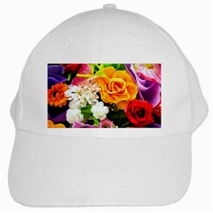 Colorful Flowers White Cap by BangZart