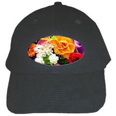 Colorful Flowers Black Cap by BangZart