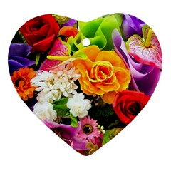Colorful Flowers Ornament (heart) by BangZart