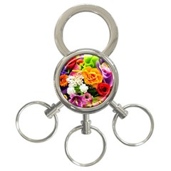 Colorful Flowers 3 Ring Key Chains by BangZart