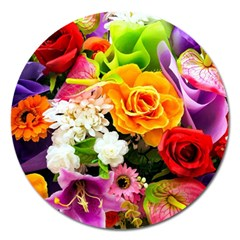 Colorful Flowers Magnet 5  (round) by BangZart