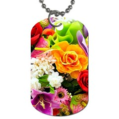 Colorful Flowers Dog Tag (one Side)