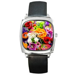 Colorful Flowers Square Metal Watch