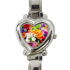 Colorful Flowers Heart Italian Charm Watch by BangZart