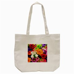 Colorful Flowers Tote Bag (cream)