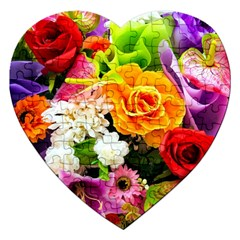 Colorful Flowers Jigsaw Puzzle (heart)