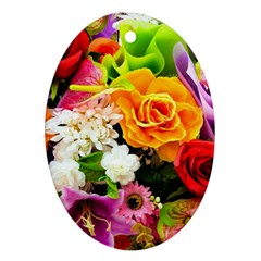 Colorful Flowers Oval Ornament (two Sides) by BangZart