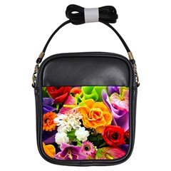 Colorful Flowers Girls Sling Bags by BangZart
