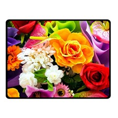 Colorful Flowers Fleece Blanket (small)