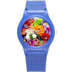 Colorful Flowers Round Plastic Sport Watch (s) by BangZart