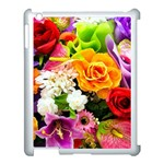 Colorful Flowers Apple iPad 3/4 Case (White) Front