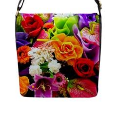 Colorful Flowers Flap Messenger Bag (l)  by BangZart
