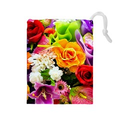 Colorful Flowers Drawstring Pouches (large)