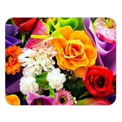 Colorful Flowers Double Sided Flano Blanket (large)