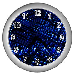Blue Circuit Technology Image Wall Clocks (silver)  by BangZart