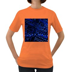 Blue Circuit Technology Image Women s Dark T Shirt