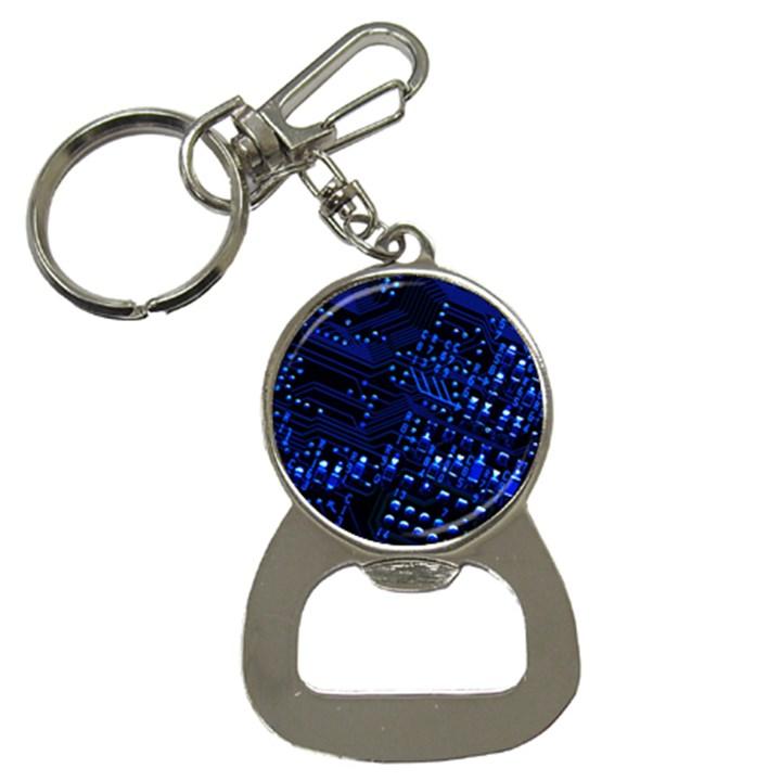 Blue Circuit Technology Image Button Necklaces