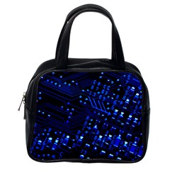 Blue Circuit Technology Image Classic Handbags (one Side)