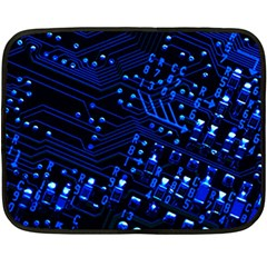 Blue Circuit Technology Image Double Sided Fleece Blanket (mini)  by BangZart