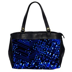 Blue Circuit Technology Image Office Handbags (2 Sides)  by BangZart