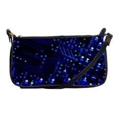 Blue Circuit Technology Image Shoulder Clutch Bags by BangZart