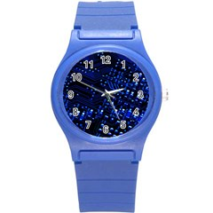Blue Circuit Technology Image Round Plastic Sport Watch (s) by BangZart